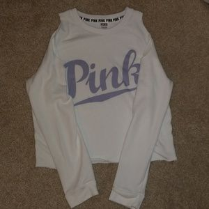 PINK White Cropped Off The Shoulder Top
